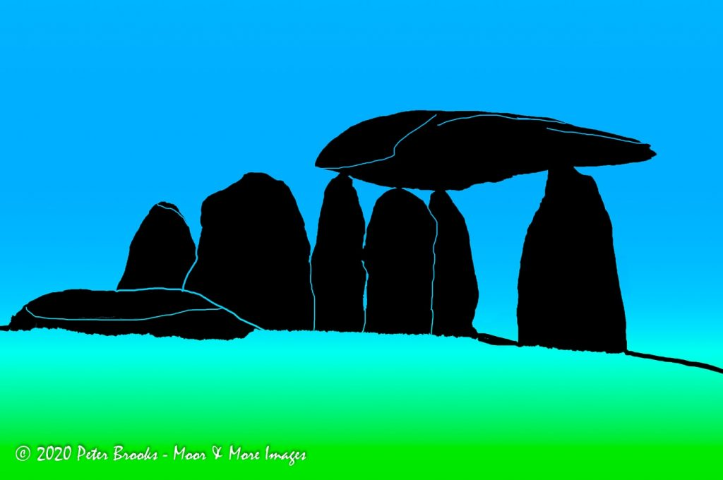 Image of Pentre Ifan burial tomb in Pembrokeshire in the style of a linocut